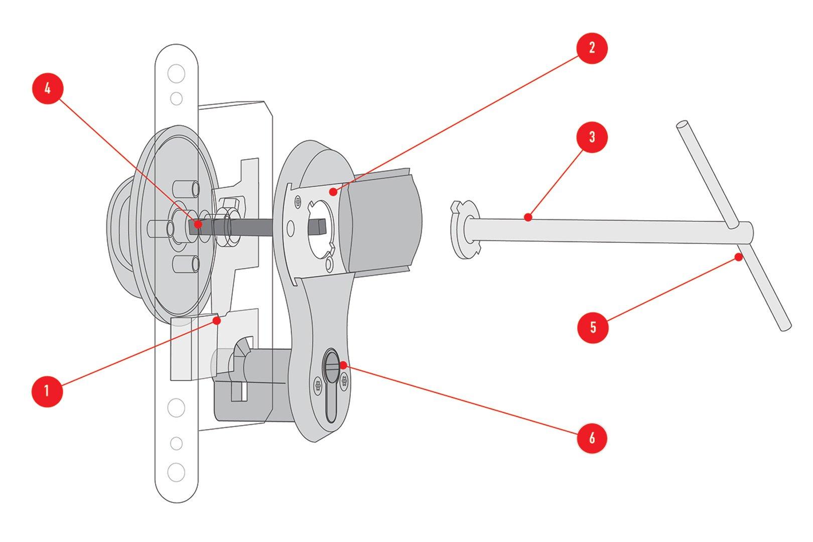 5-Way SOS Lockset diagram