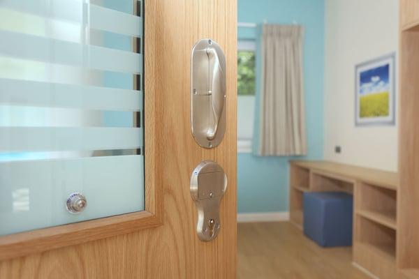 Bedroom door with mechanical lock - Newnham Ward