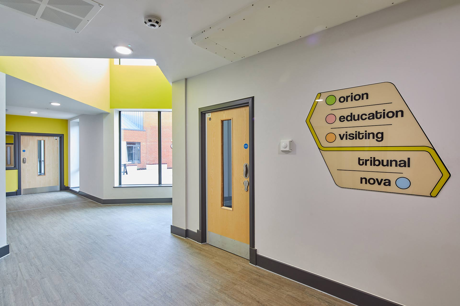 Corridor and signage at Inspire CAMHS