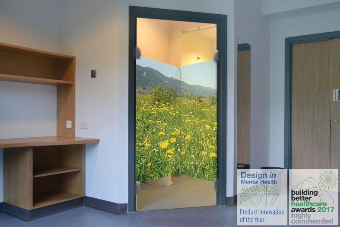 "En-suite door ""Highly Commended"" at Building Better Healthcare awards                         LG0-meadow-300-2va---ensuite-with-bbh-award"