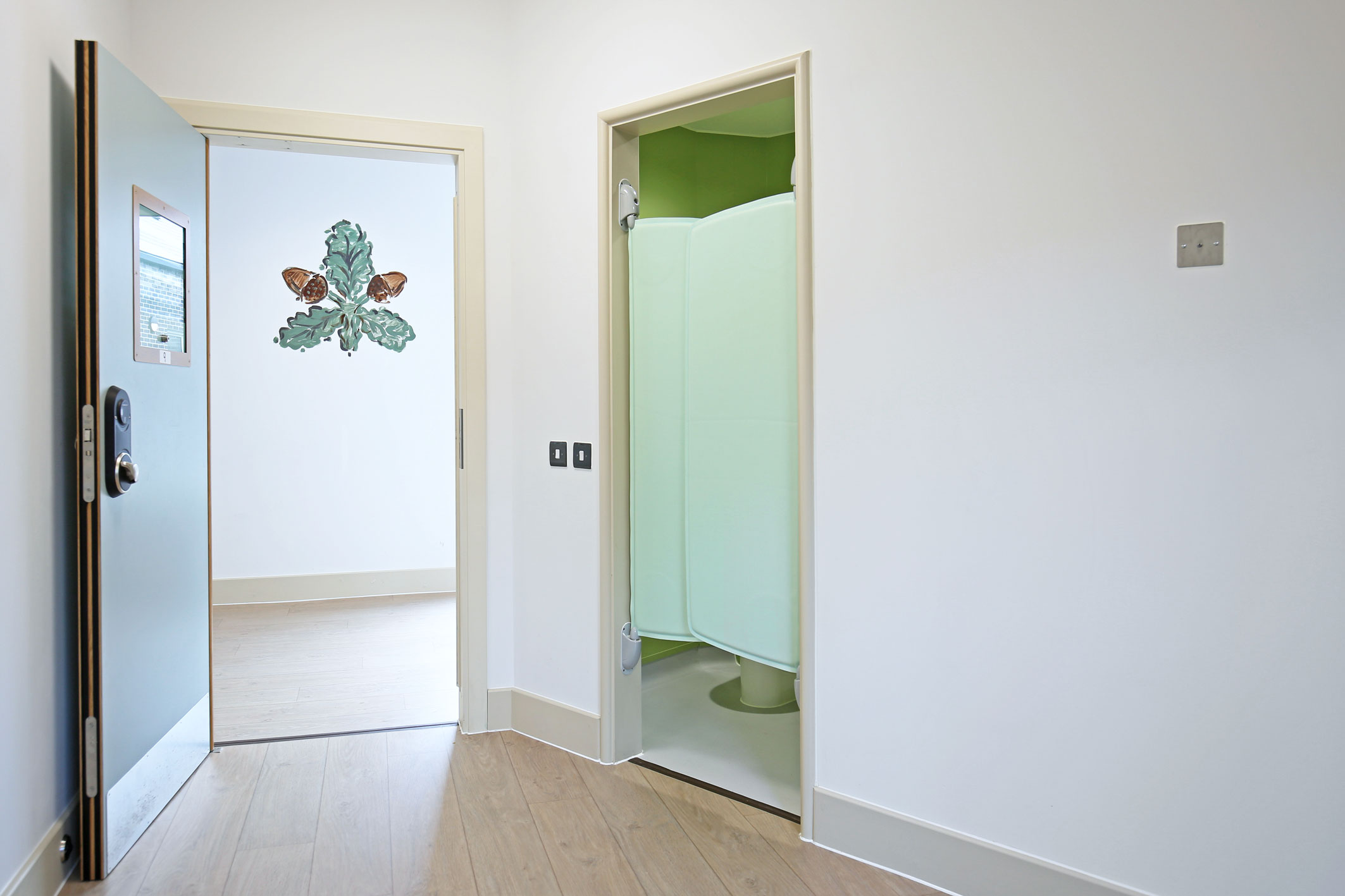 Patient bedroom and en-suite doors - Wonford House