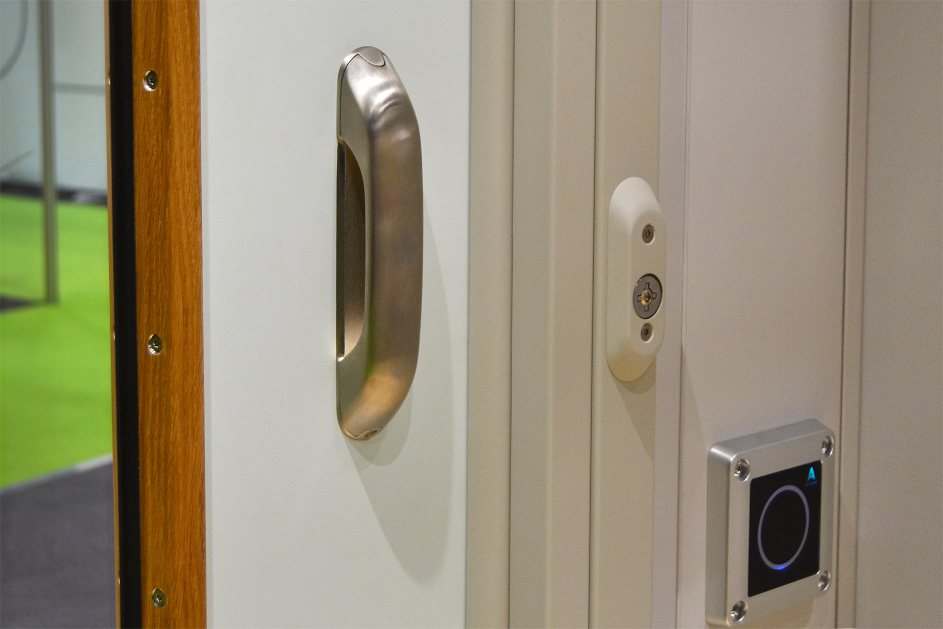 Ward entry electronic lock operated by a wall reader